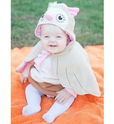 Una versión adorable del disfraz de búho de crochet, en forma de capa.