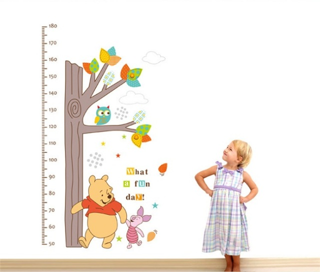 Hot-Sale-Cartoon-Winnie-the-Pooh-owl-tree-height-table-wall-stick-for-Kids-Room-Home